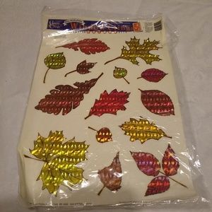 Vintage holographic fall leaf window clings